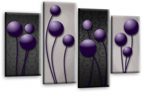 Abstract Floral Canvas Wall Art Picture Grey Purple Flower Print